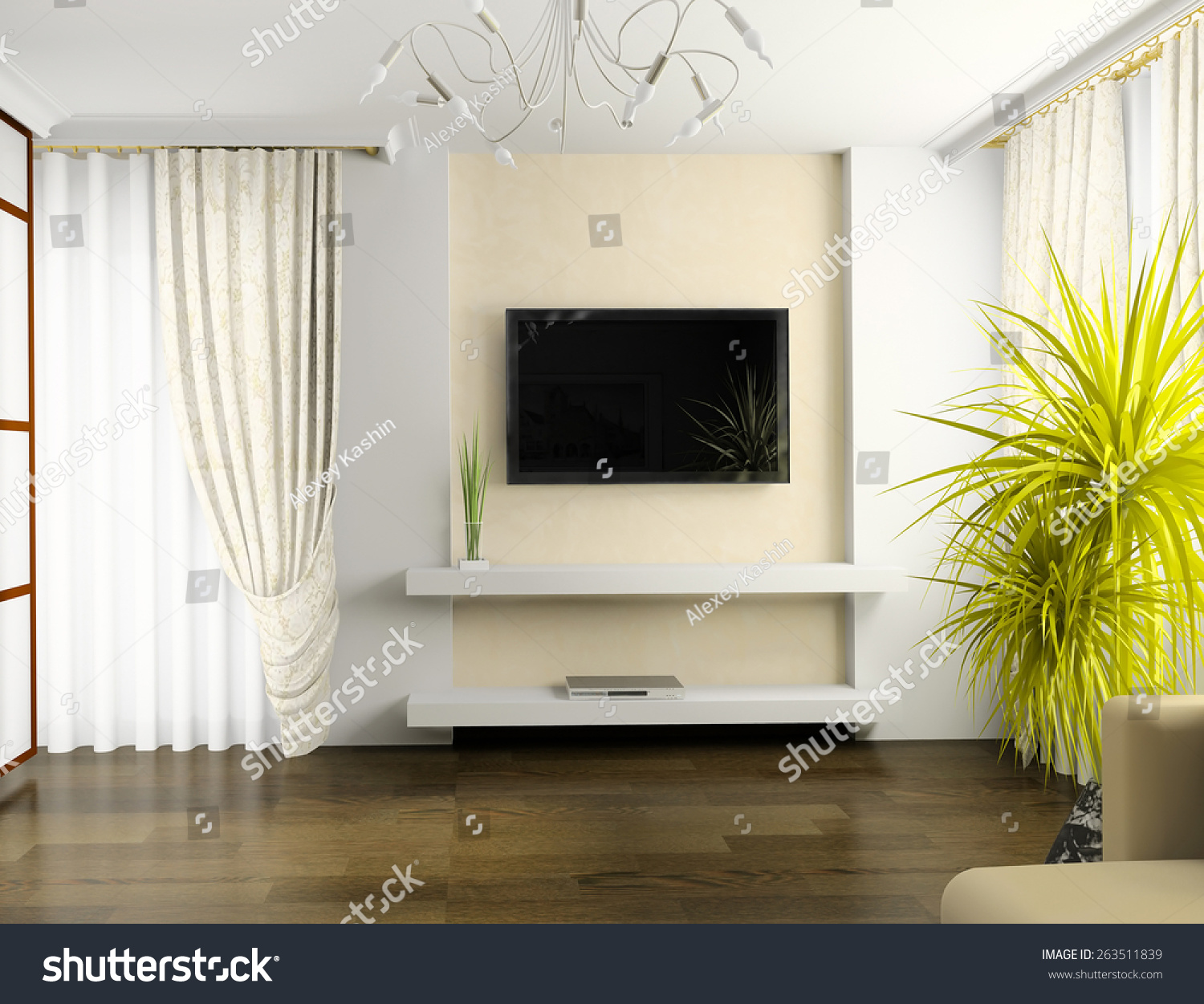Interior Of Drawing Room 3d Rendering Stock Photo