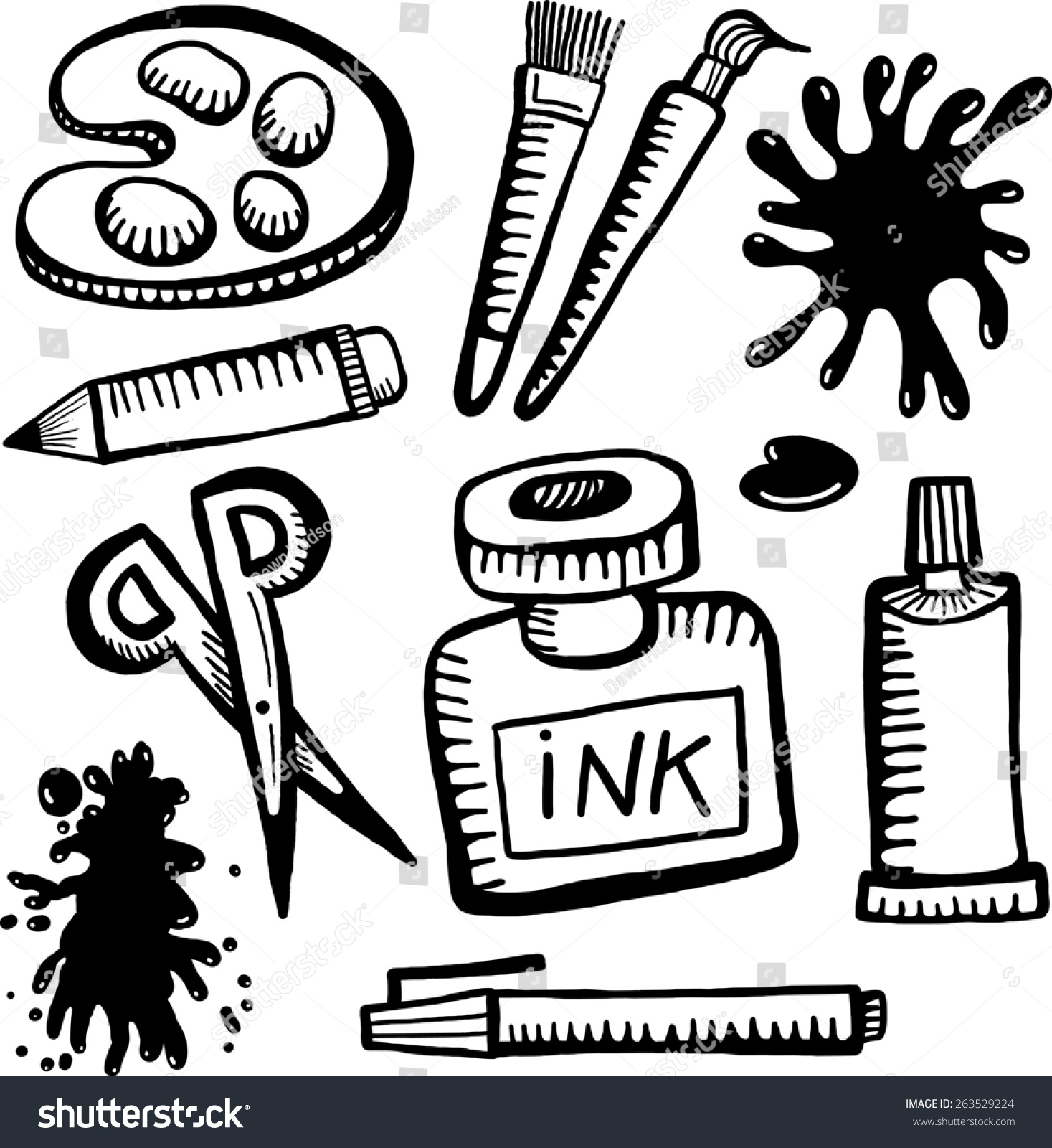 A Set Of Hand Drawn Black And White Doodles Various Art Craft Related Objects