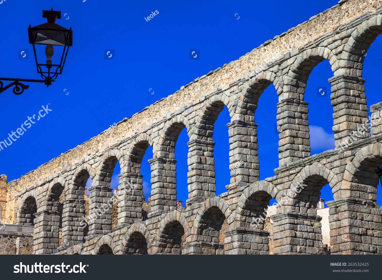 landmarks spain roman aqueduct segovia stock photo 263532425