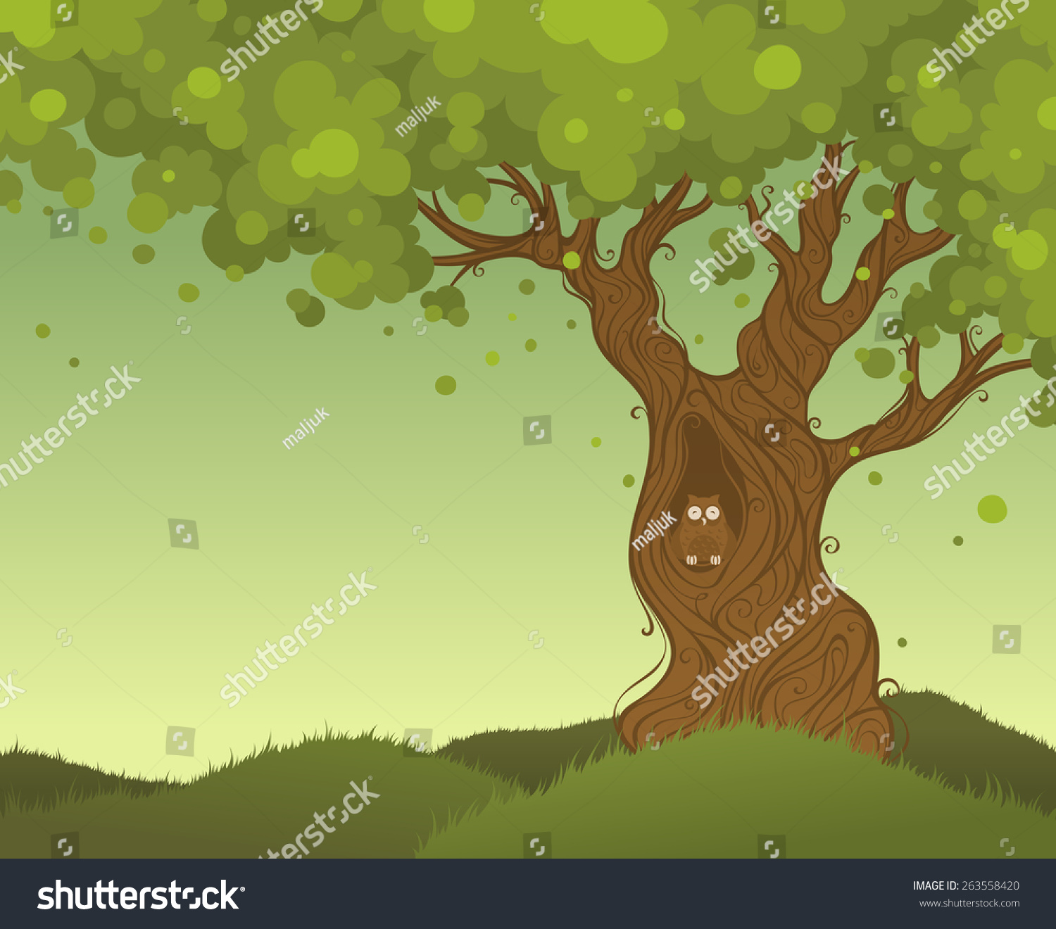 Lonely Tree Background Color Background Owl Stock Vector 263558420 ...