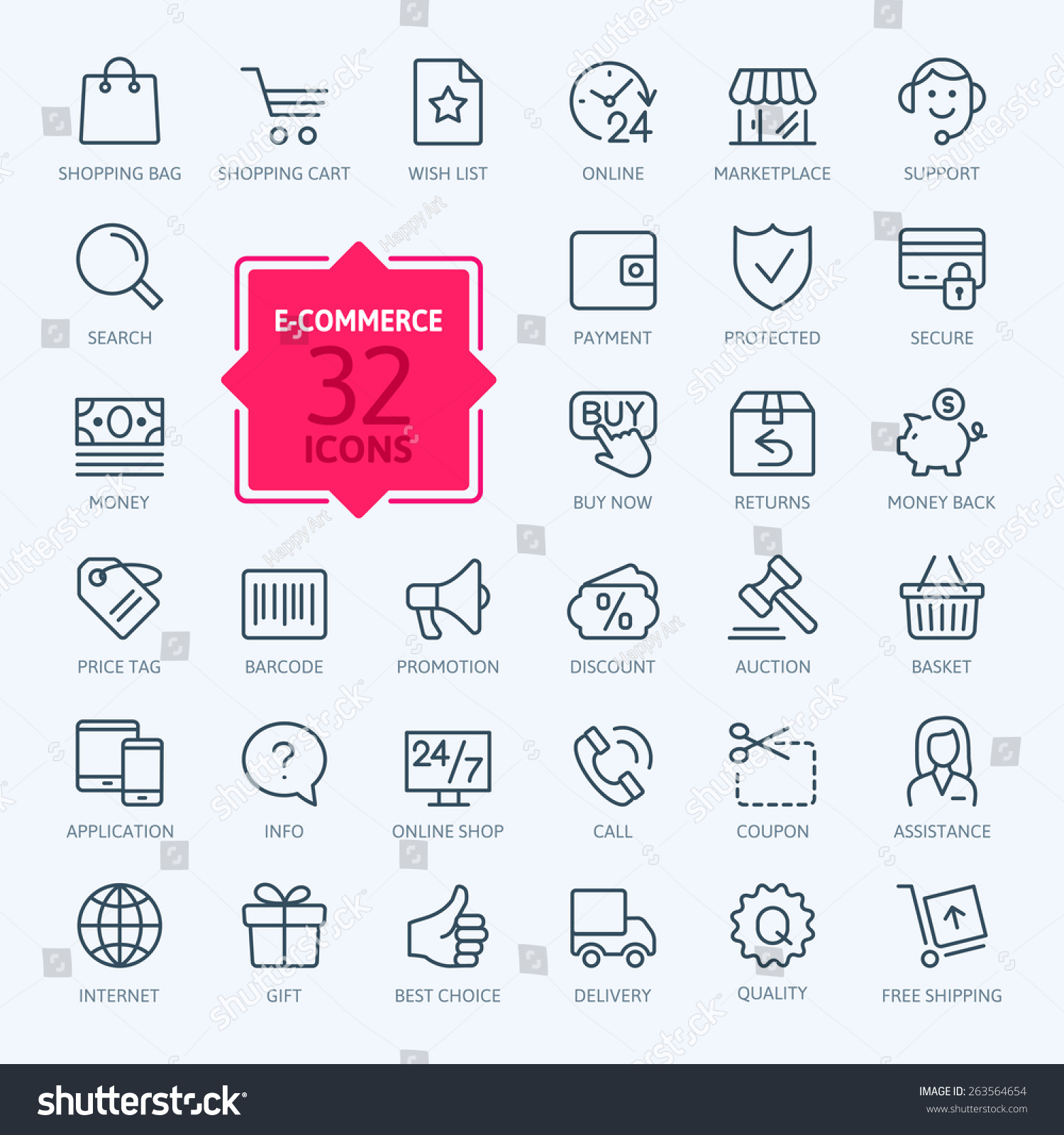 Thin lines web icons set - E-commerce, shopping #263564654
