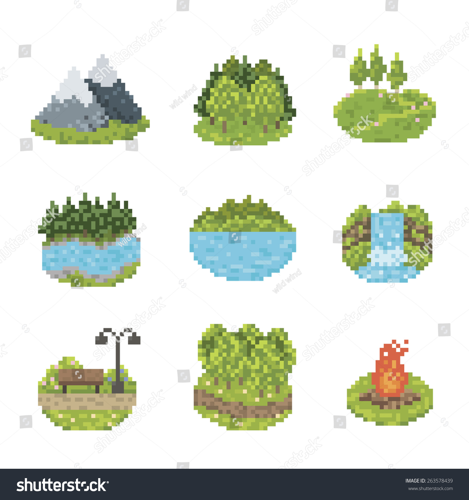 Nature And Parks Pixel Art Icon Set Stock Vector