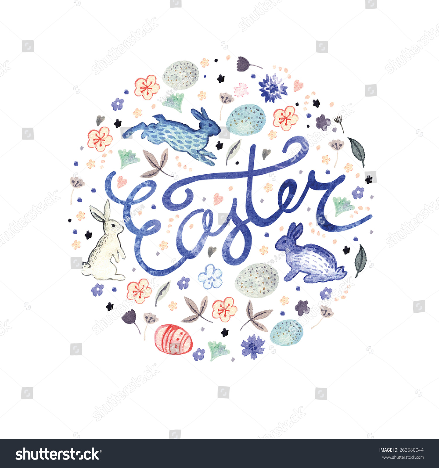 Easter pastel watercolor greeting card vector stock vector royalty easter pastel watercolor greeting card vector illustration watercolor painting easter template floral m4hsunfo