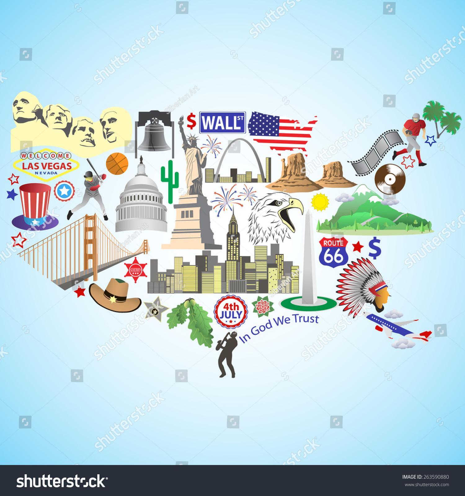 Usa Map American Map Color Vector Stock Vector - Usa map and landmarks