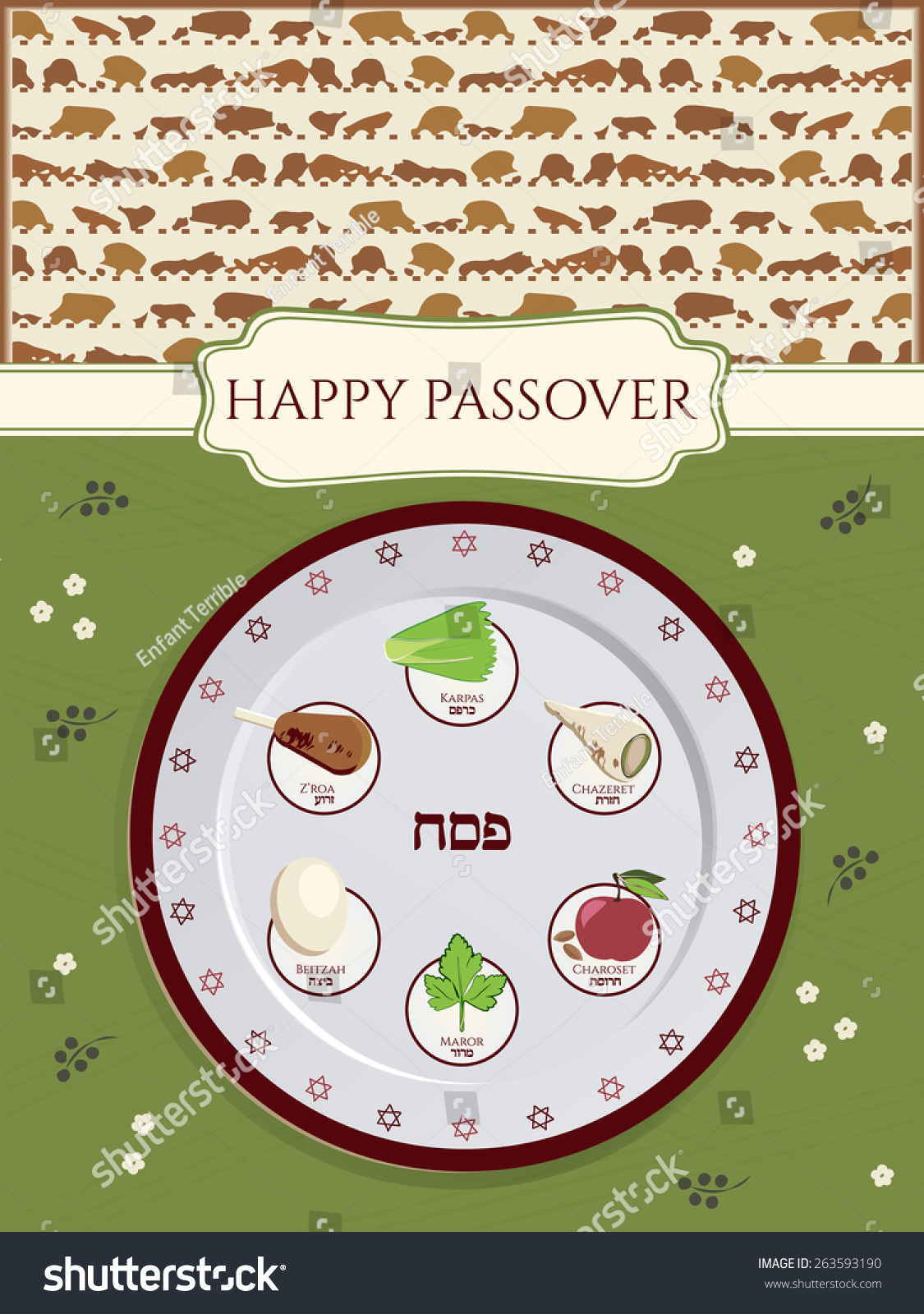 Greeting card design passover vector template stock vector greeting card design for passover vector template jewish spring holiday greeting card poster buycottarizona