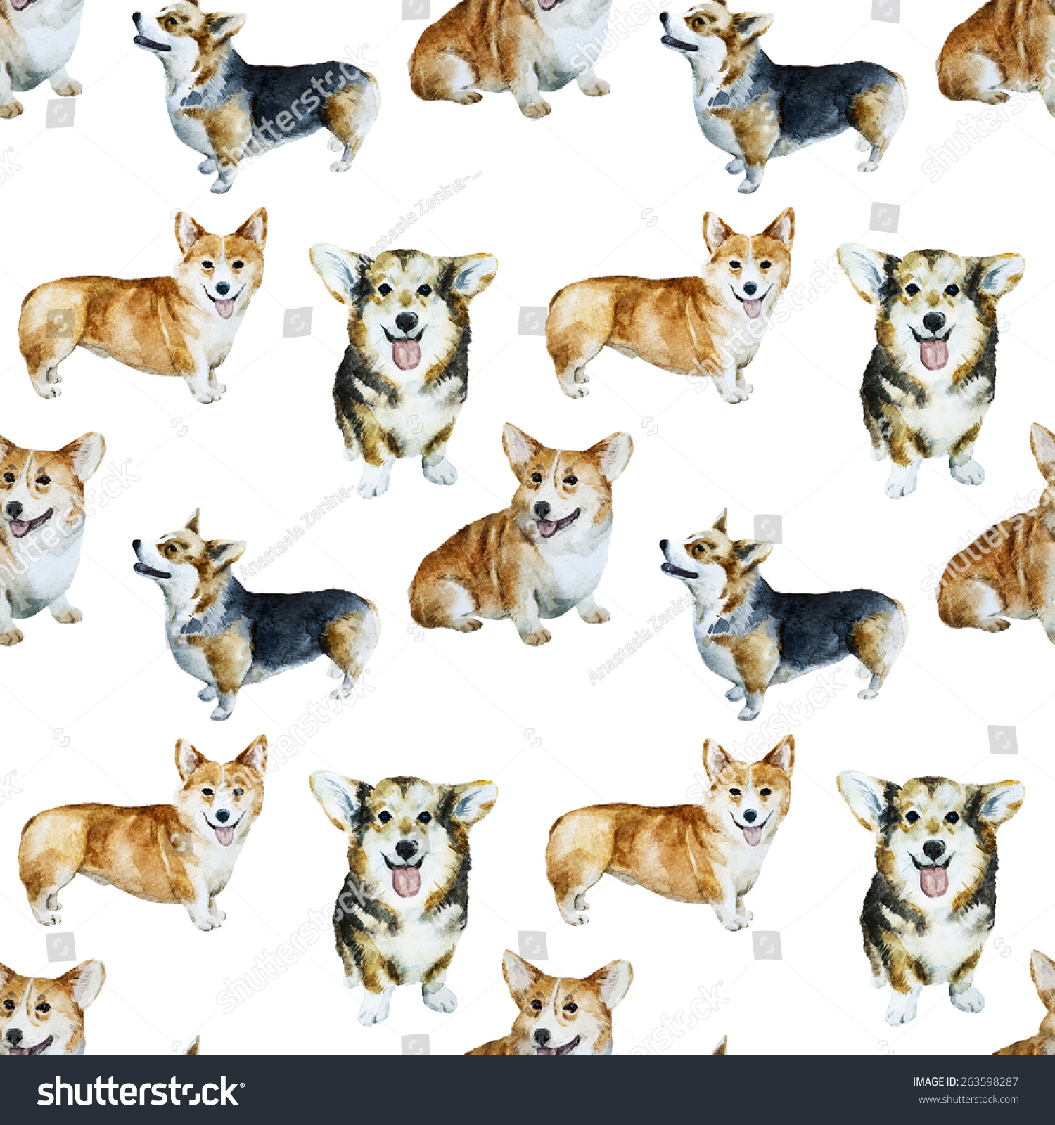 Dog Watercolor Drawing Pet Puppy Background Stock Illustration