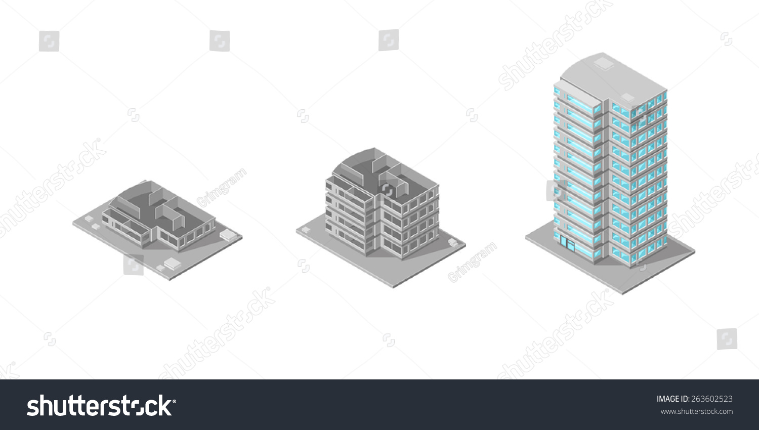 A Vector Illustration Of A Building Construction Done In Stages On A  Construction Site. Building