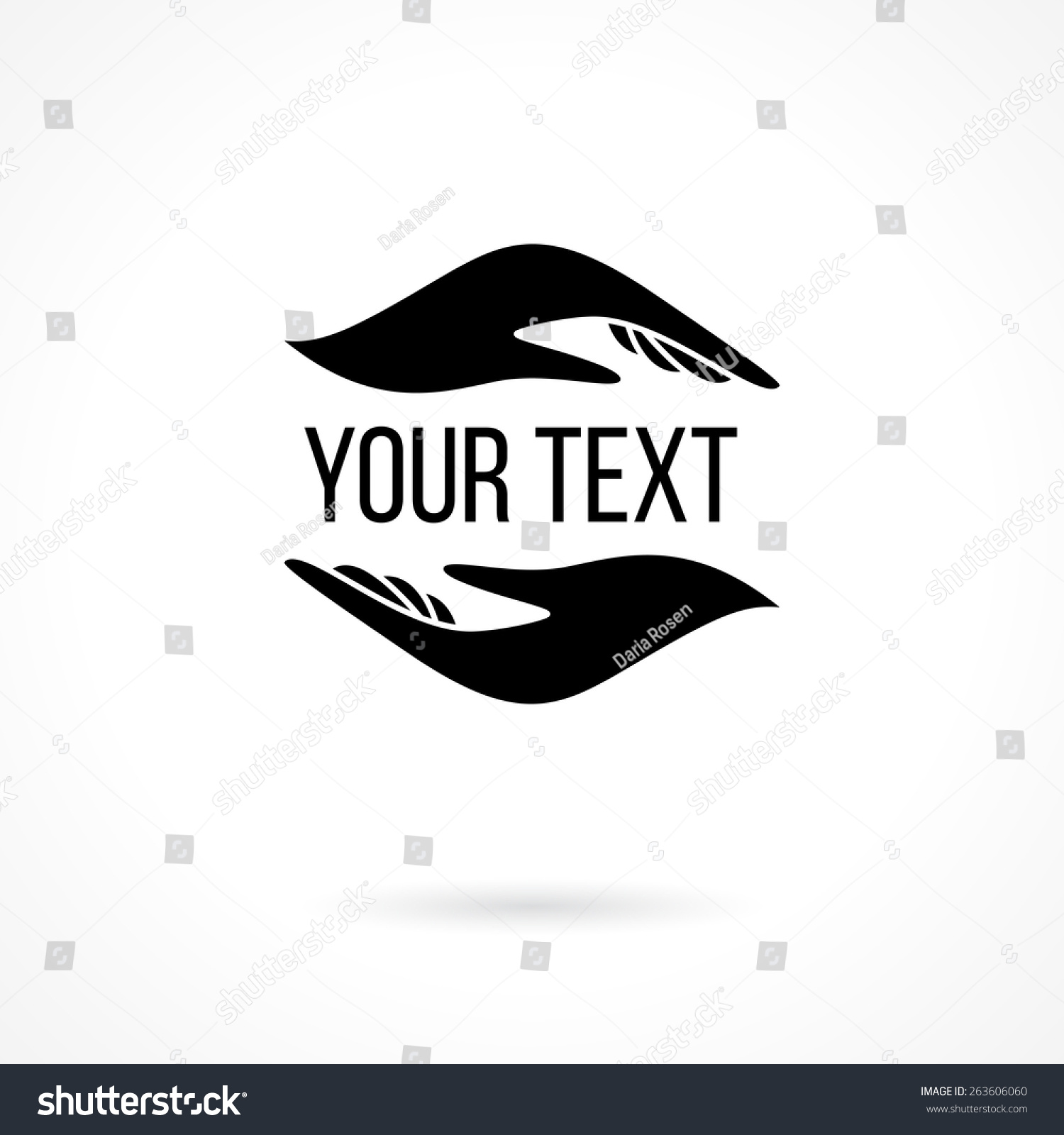 Vector Logo Two Hands Holding Text Stock Vector 263606060 ...