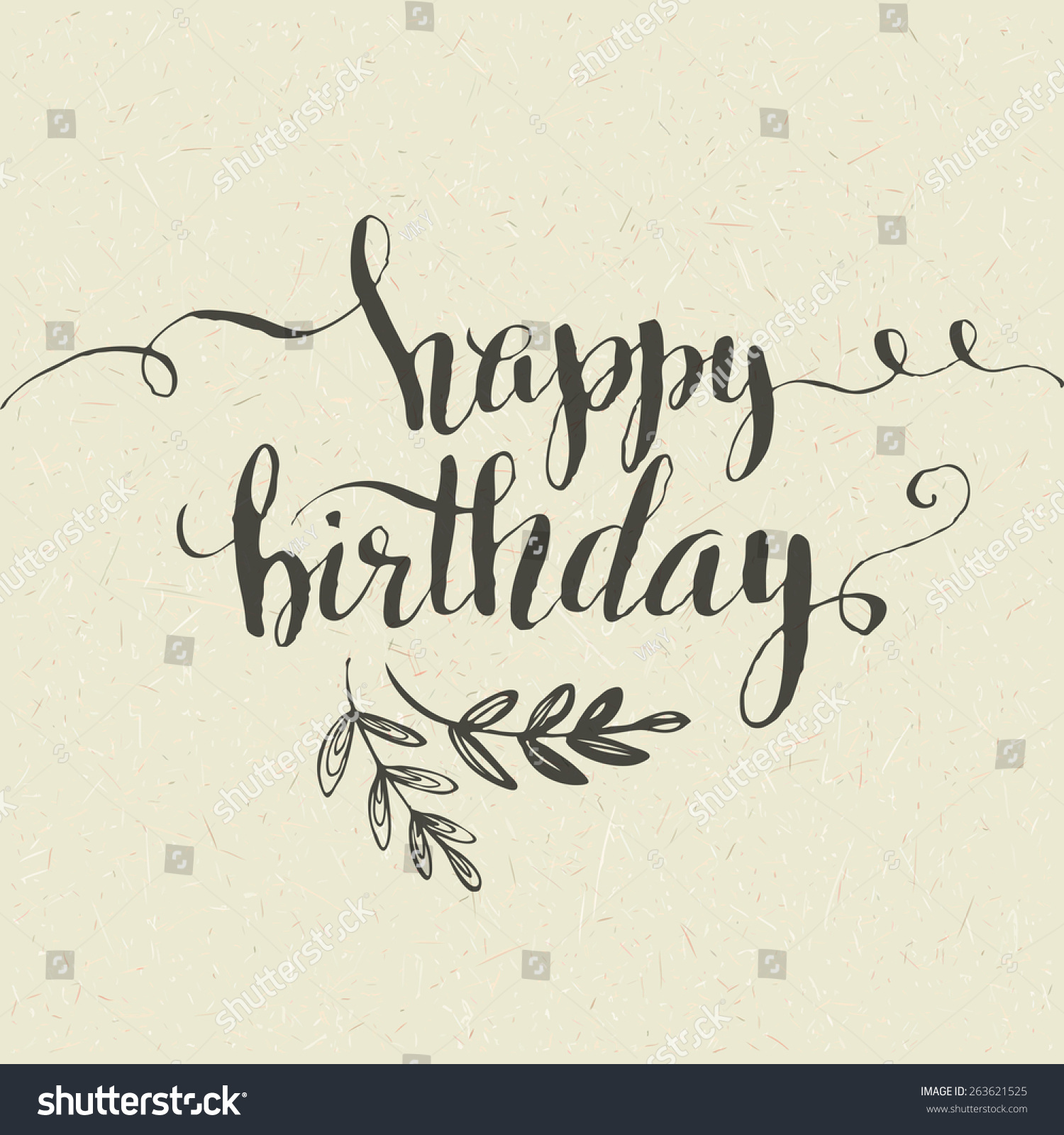 Lettering. Happy Birthday Hand-Drawn Card. Vector Illustration