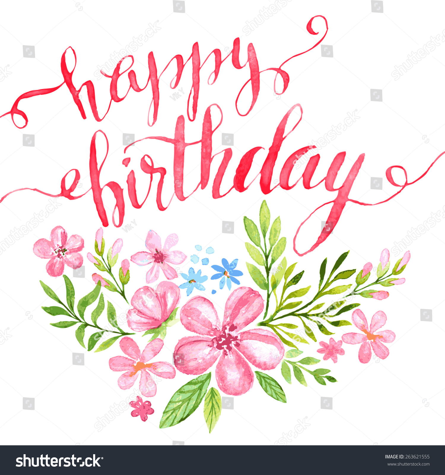 Lettering happy birthday handdrawn card flower stock vector lettering happy birthday hand drawn card with flower vector illustration eps 10 izmirmasajfo