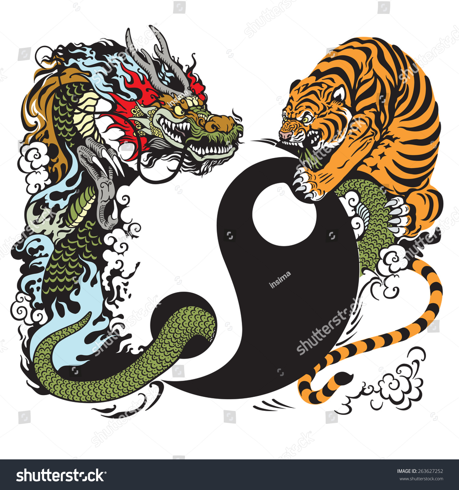 yin yang symbol dragon tiger fight stock vector 263627252 shutterstock. Black Bedroom Furniture Sets. Home Design Ideas