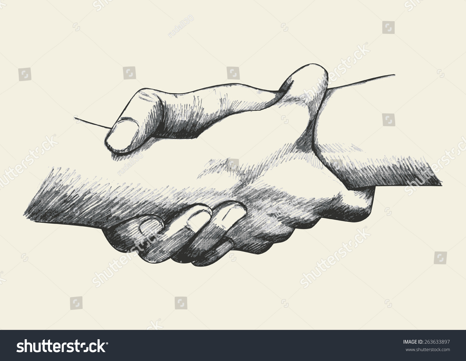 Sketch Illustration Two Hands Holding Each Stock Vector Royalty