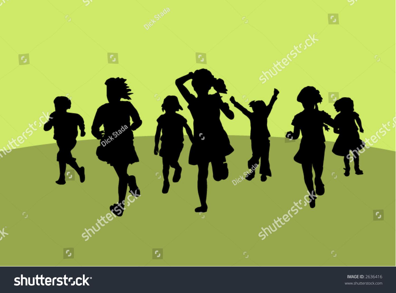 Silhouettes Of Running Little Girls. Stock Vector ...