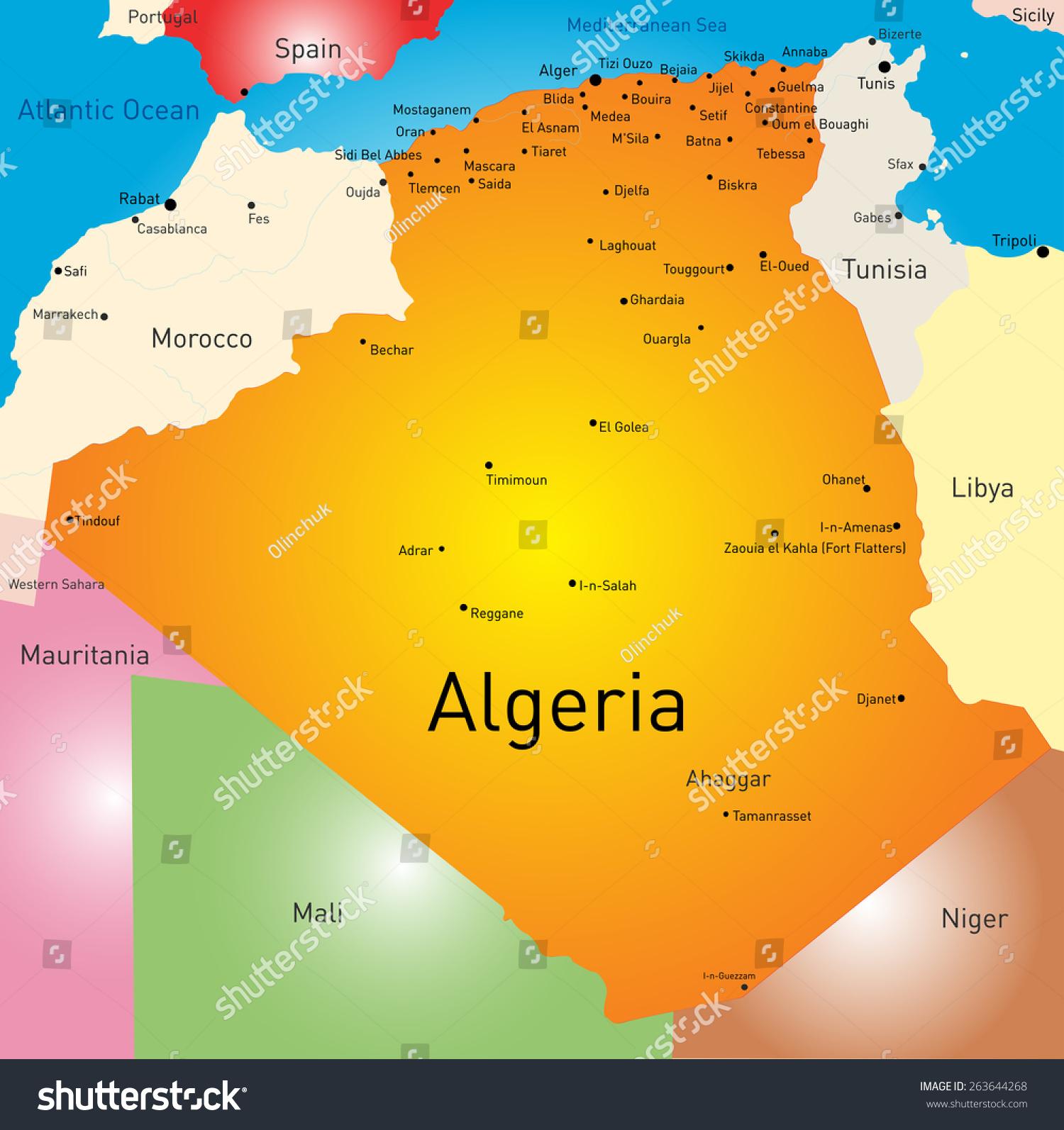 Vector Color Map Algeria Stock Vector Shutterstock - Algeria map