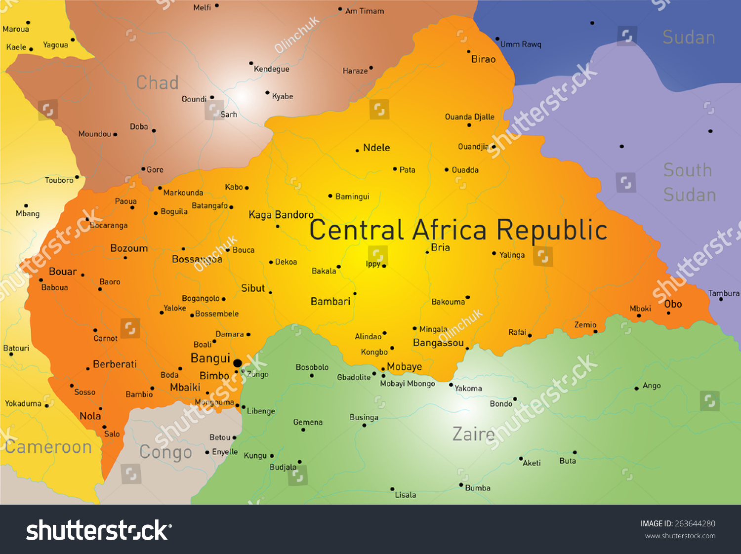 Map Of Central Africa In Different Colors African Countries Map - Central africa map