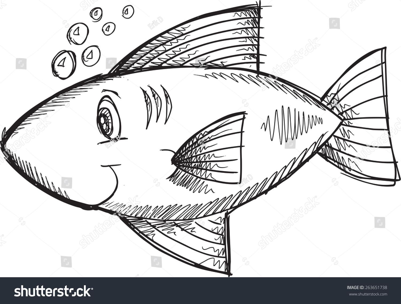doodle sketch fish vector illustration art stock vector 263651738