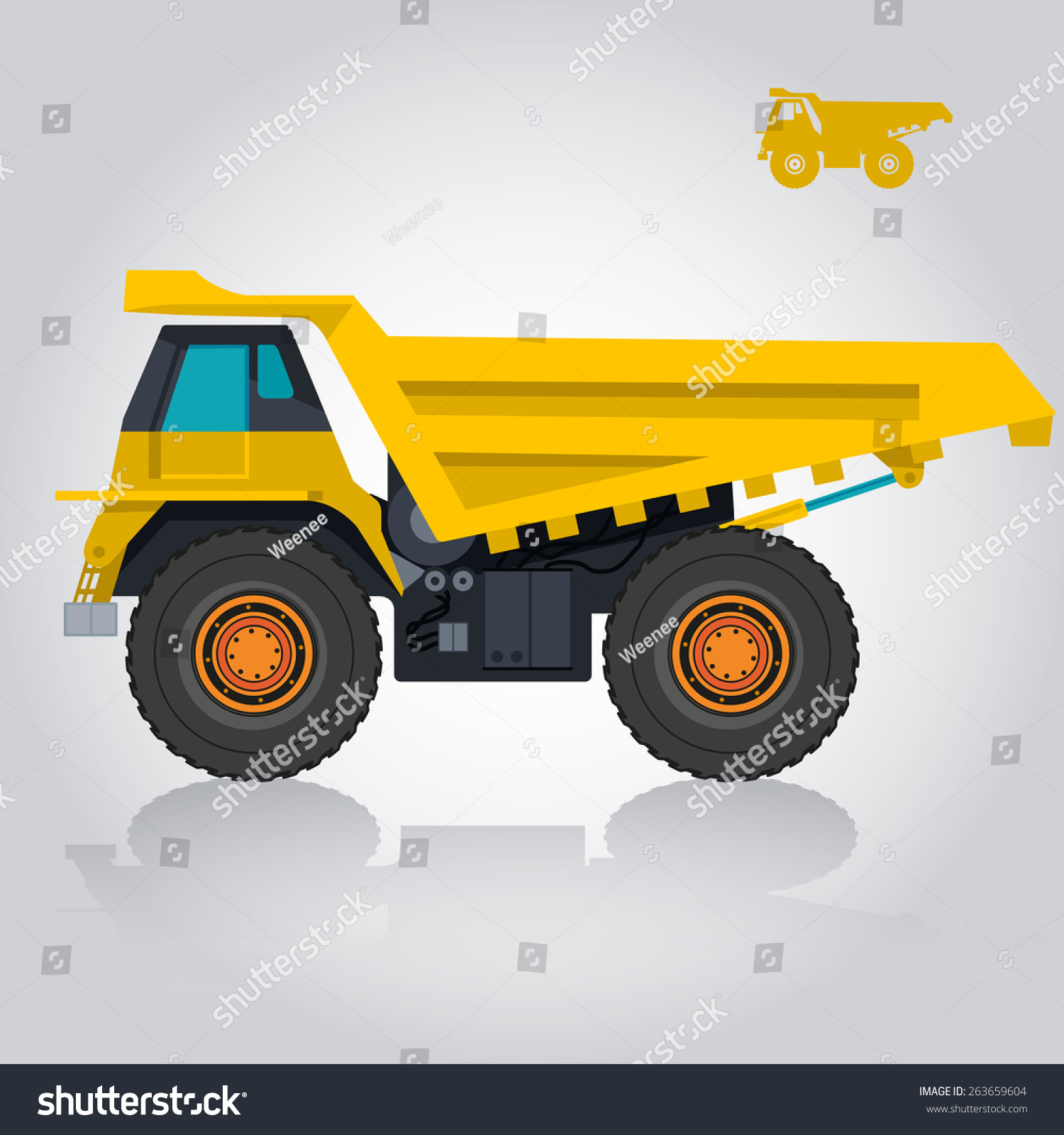 yellow big truck big wheels deck stock vector 263659604. Black Bedroom Furniture Sets. Home Design Ideas