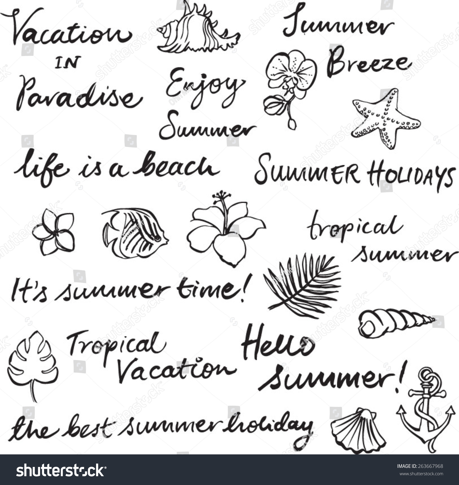 set tropical vacation words phrases stock vector royalty free