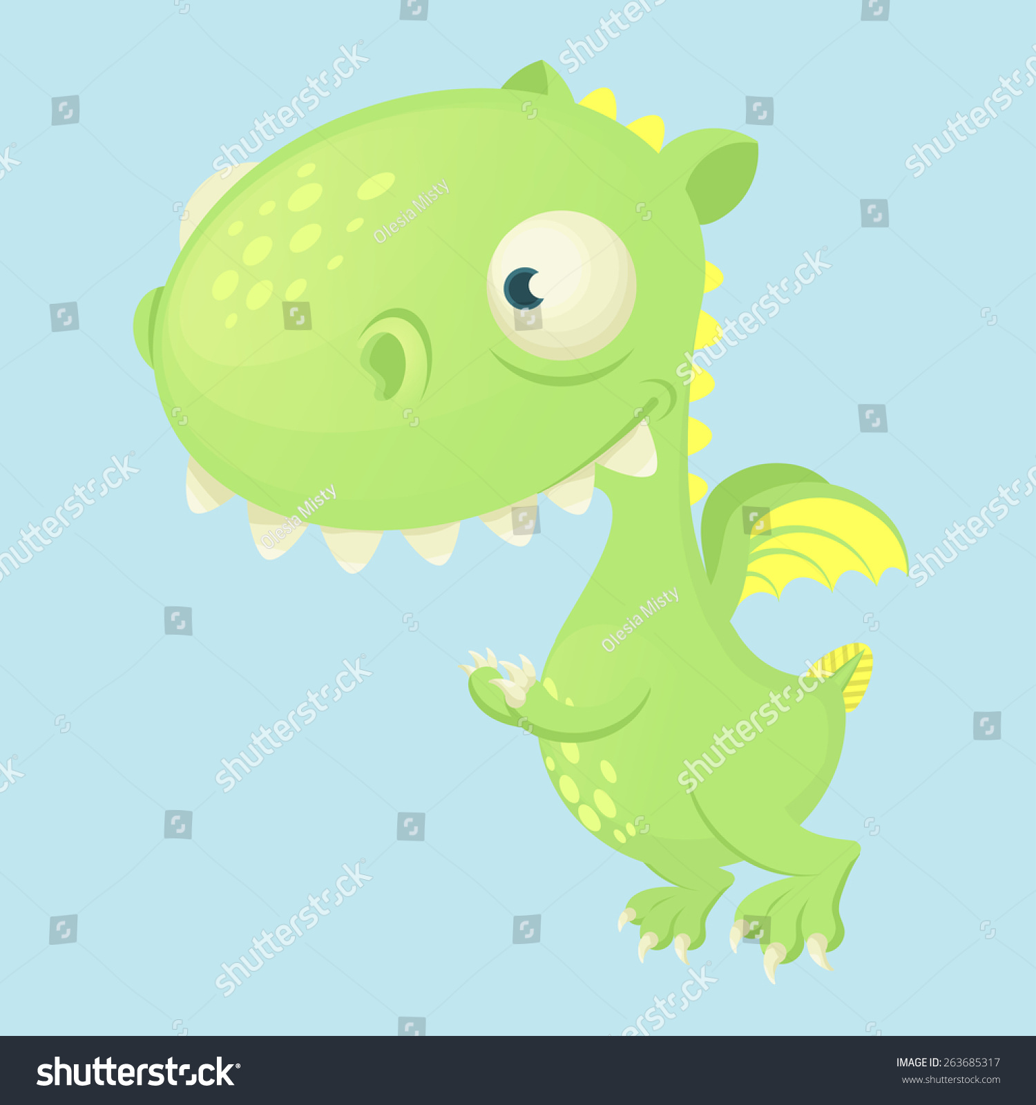 Cute Cartoon Vector Dragon With Big Head And Small Wings