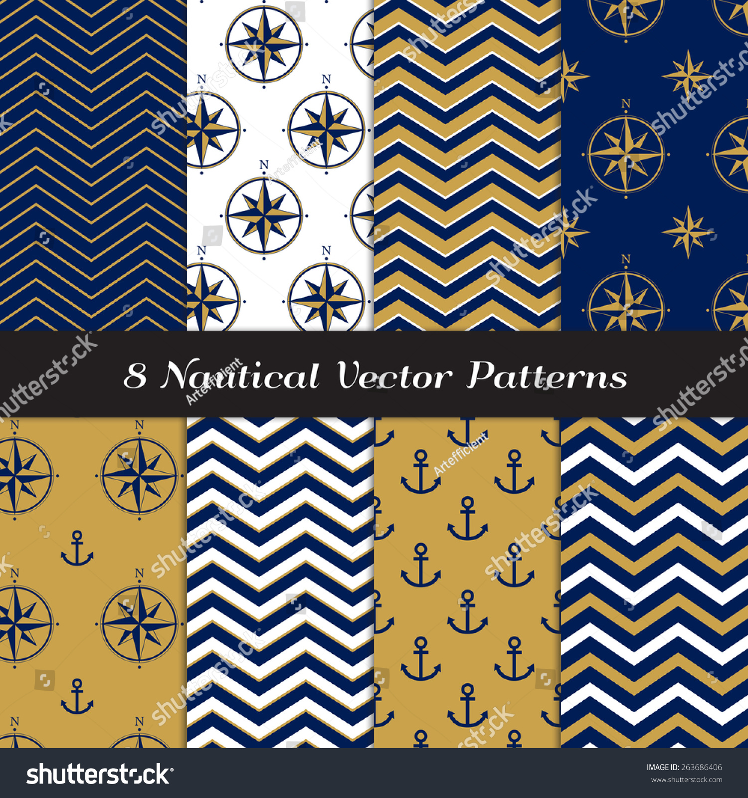 Nautical Navy Blue, Gold And White Chevron, Anchors And ... Gold And Navy Chevron Wallpaper