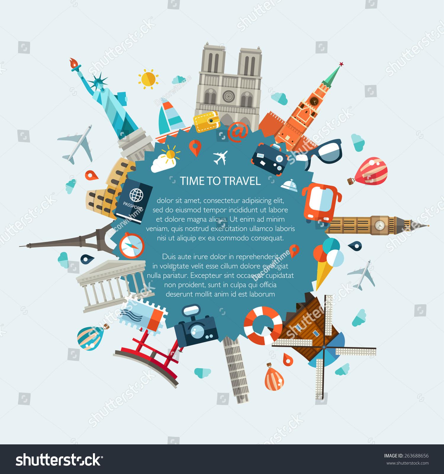 Vector Illustration Flat Design Travel Composition Stock