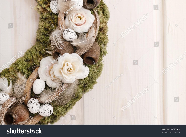 Door Wreath Moss Artificial Flowers Copy Stock Photo Edit Now 263690060