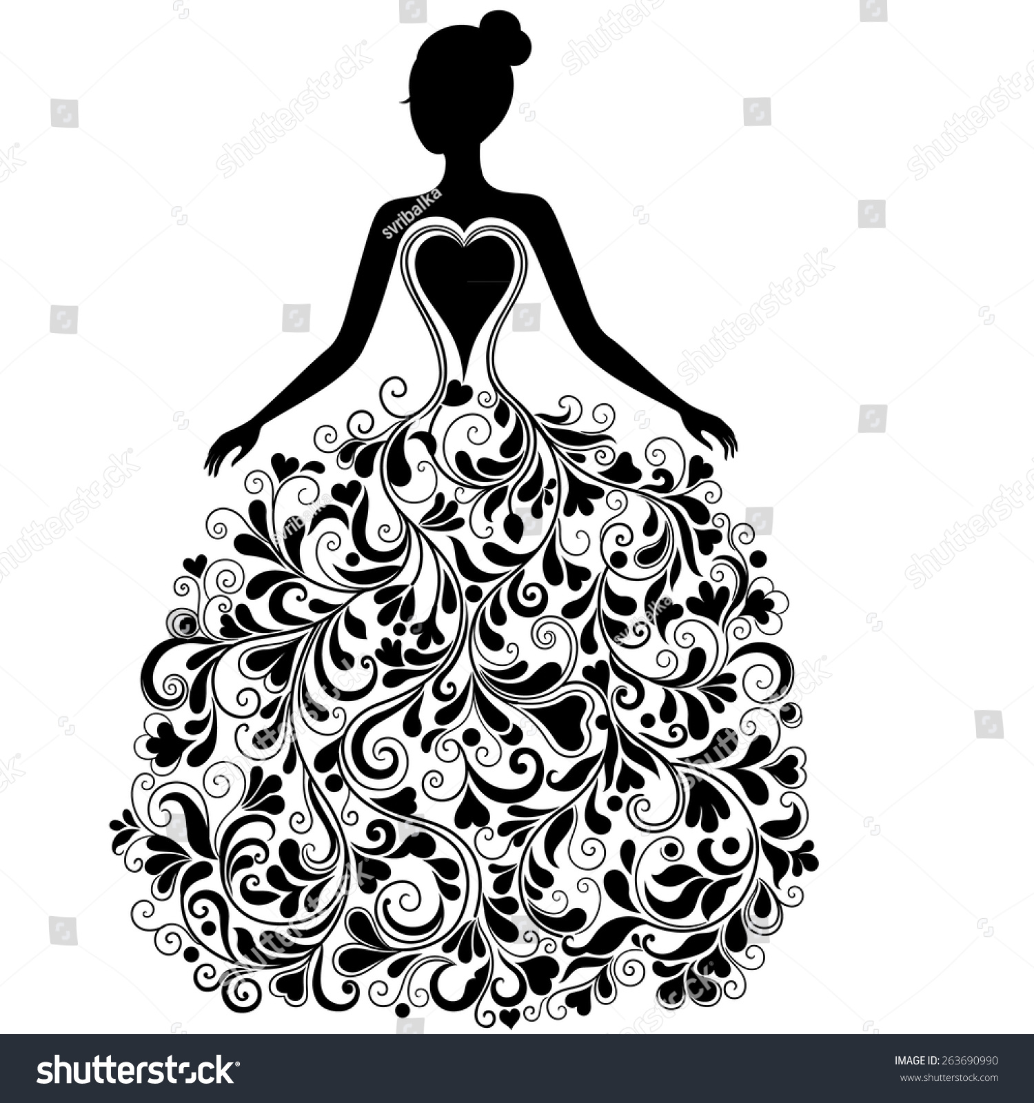 Vintage Vector Silhouette Of Beautiful Wedding Dress