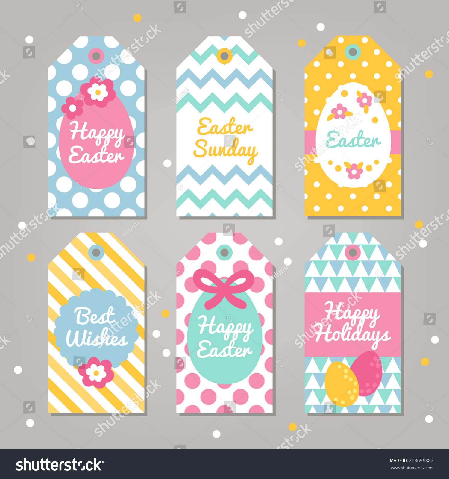 Set easter gift tags polka dot stock vector 263696882 shutterstock set of easter gift tags with polka dot chevron triangles and diagonal stripes patterns negle Choice Image