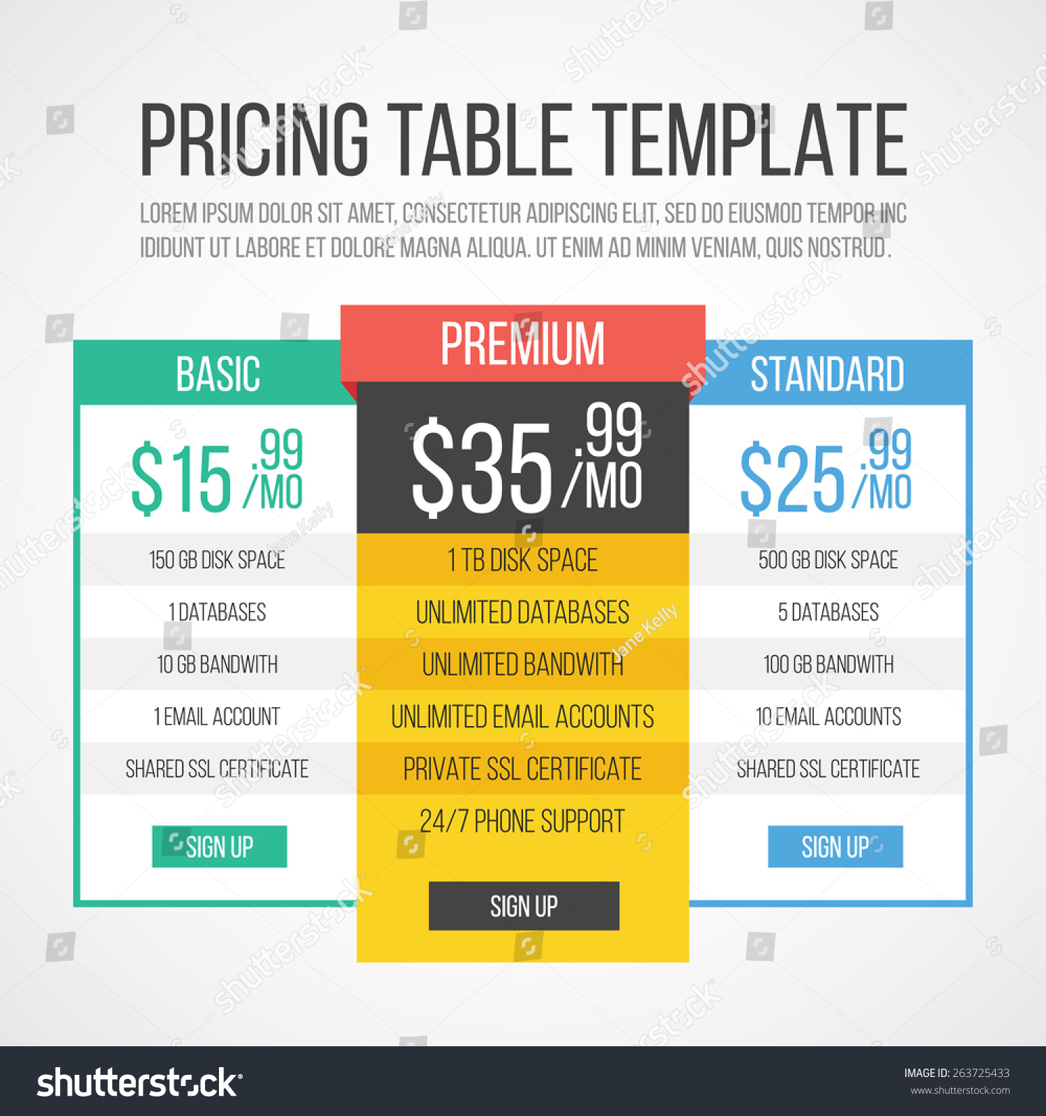 Pricing Table Template Creative Graphic Design Stock Vector Royalty