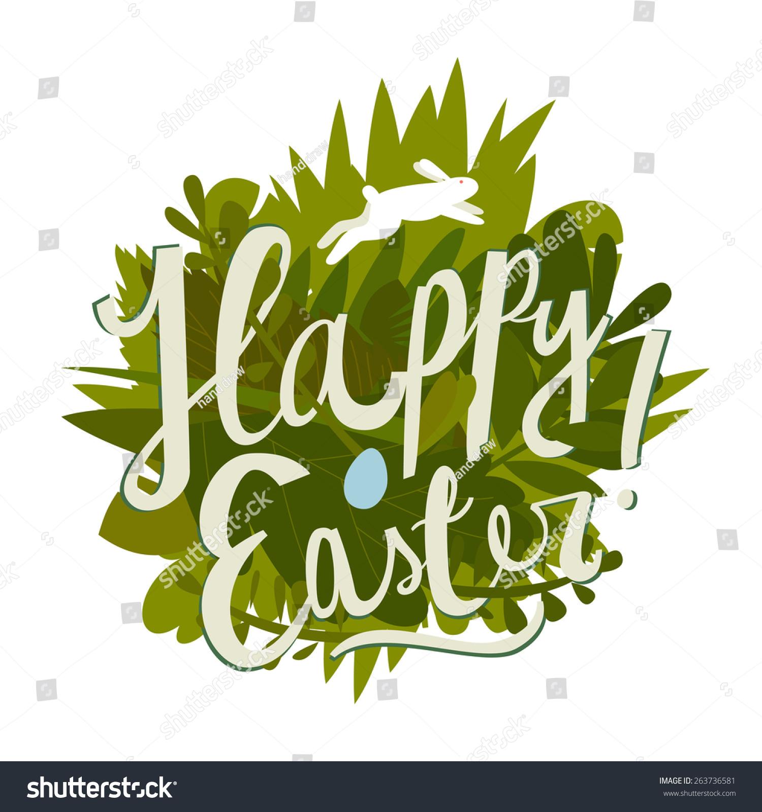 Happy Easter Cartoon Grass Label Vector Stock Vector ...