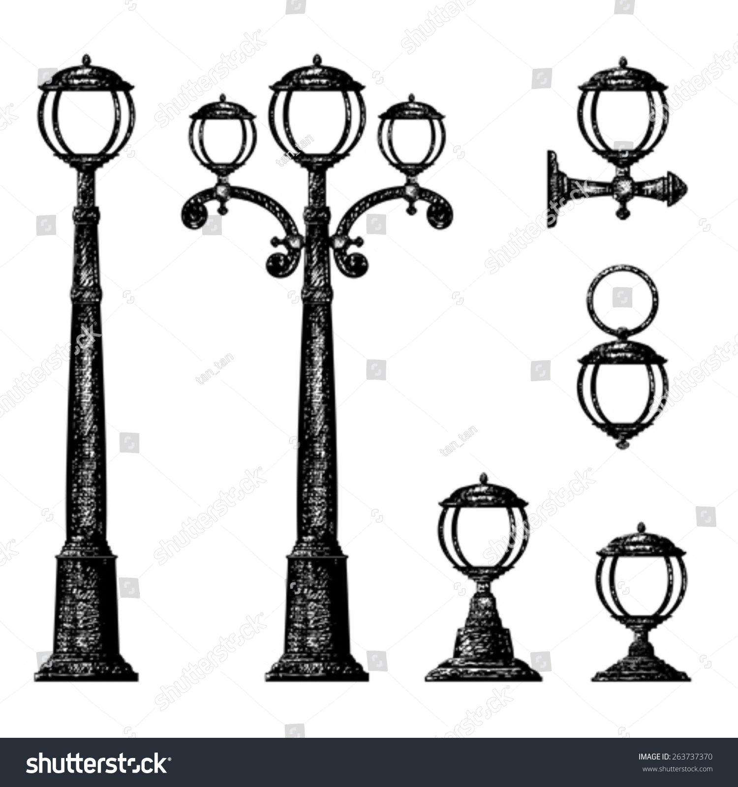 Royalty-free Sketch of street light, vector drawing #263737370 ... for Street Light Drawing  568zmd