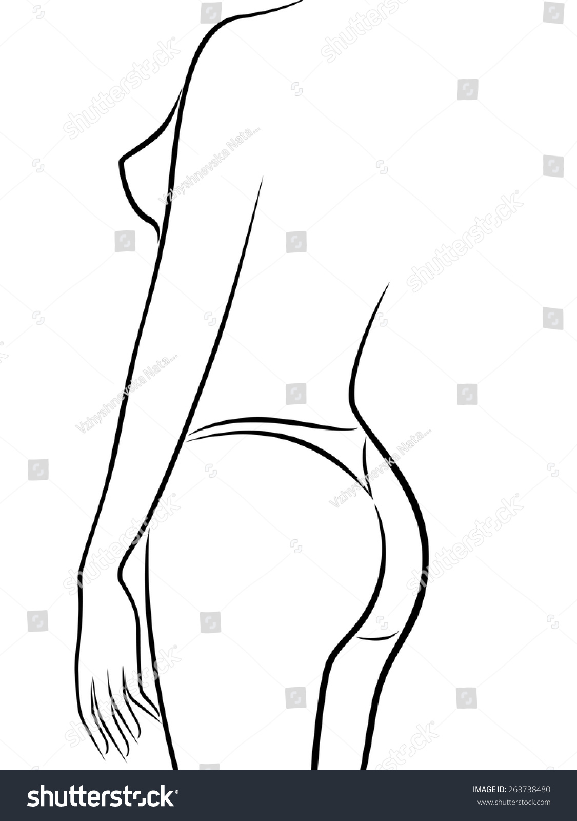 Abstract Outline Female Body Half Turn Stock Vector Royalty Free