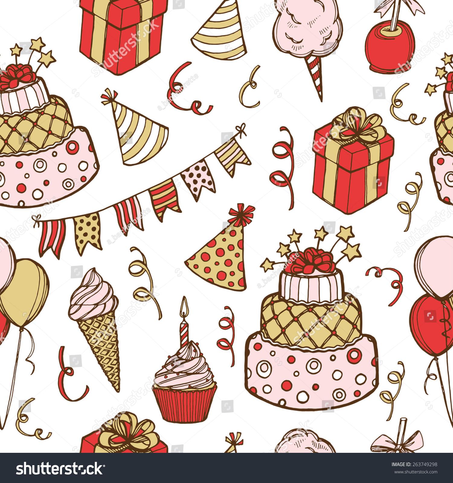 Hand Drawn Birthday Seamless Pattern Birthday Stock Illustration