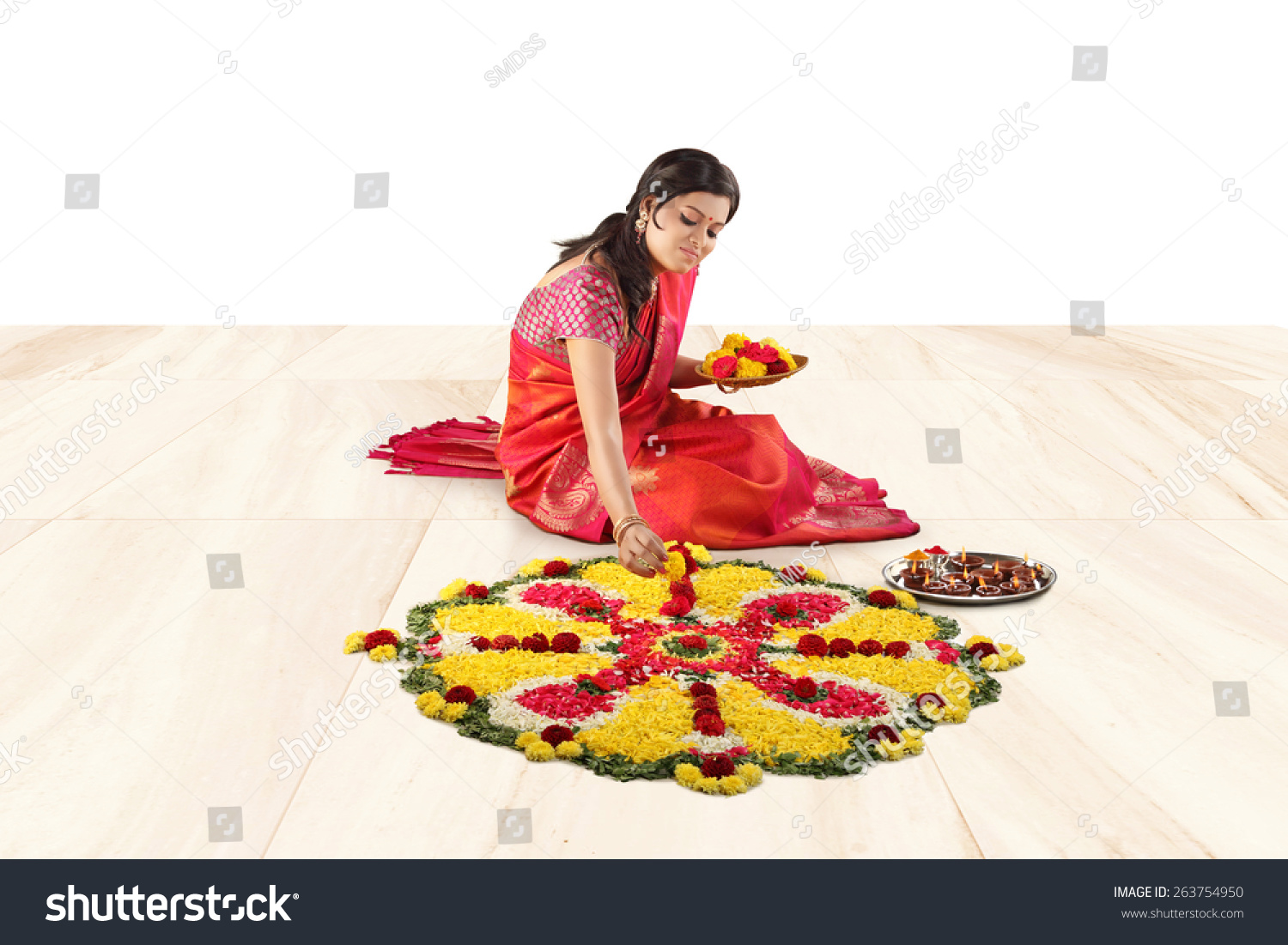 Indian Festival Decoration Woman Burning Diya Indian Festival Diwaliflower Stock Photo