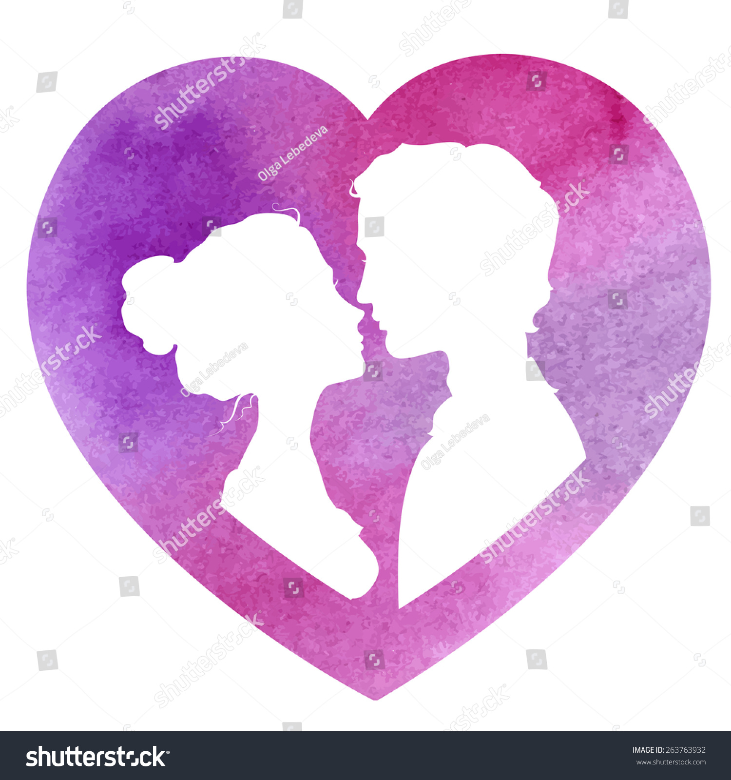 Profile Silhouettes Man Woman Heartshaped Frame Stock Vector ...