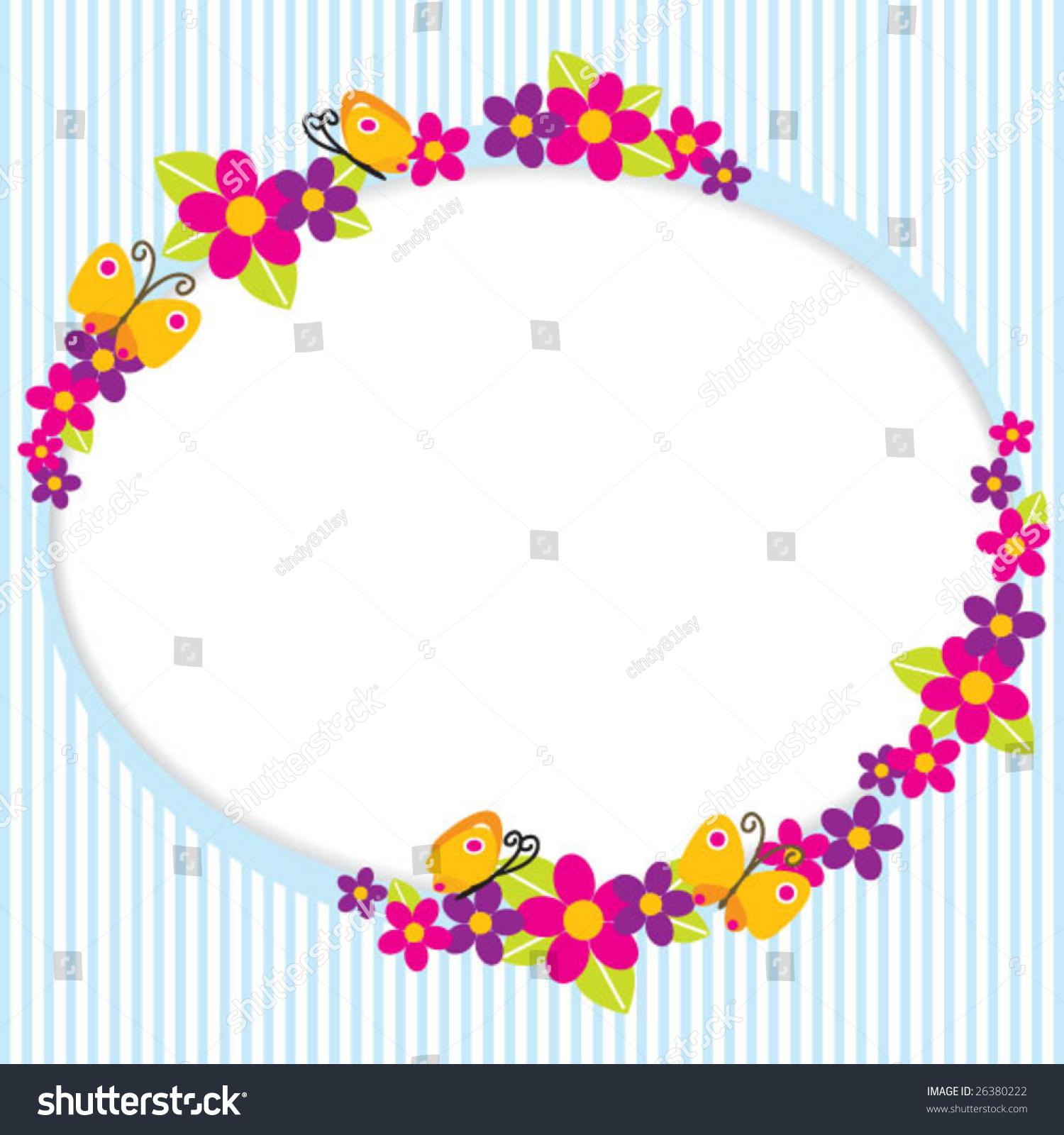 Cute Butterfly Flower Border Stock Vector 26380222 Shutterstock