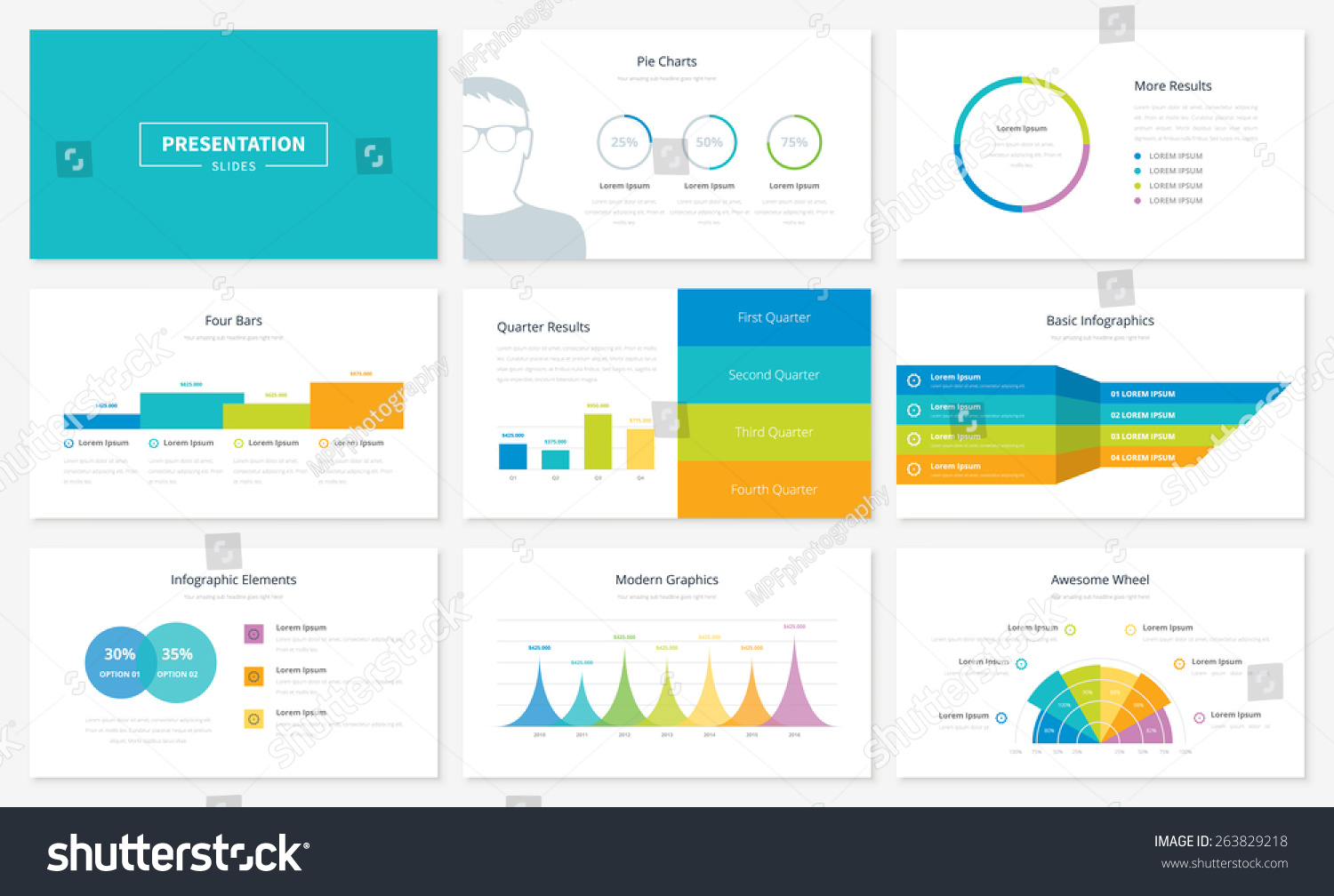 Infographic presentation slide templates and vector brochures for business Big set of modern infographic vector elements for web print magazine flyer brochure media marketing and advertising
