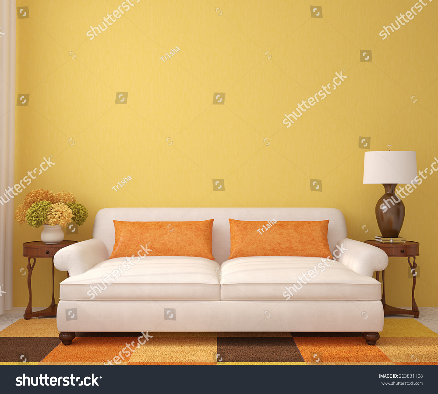 Empty Living Room: Beautiful Livingroom White Couch Near Empty Stock