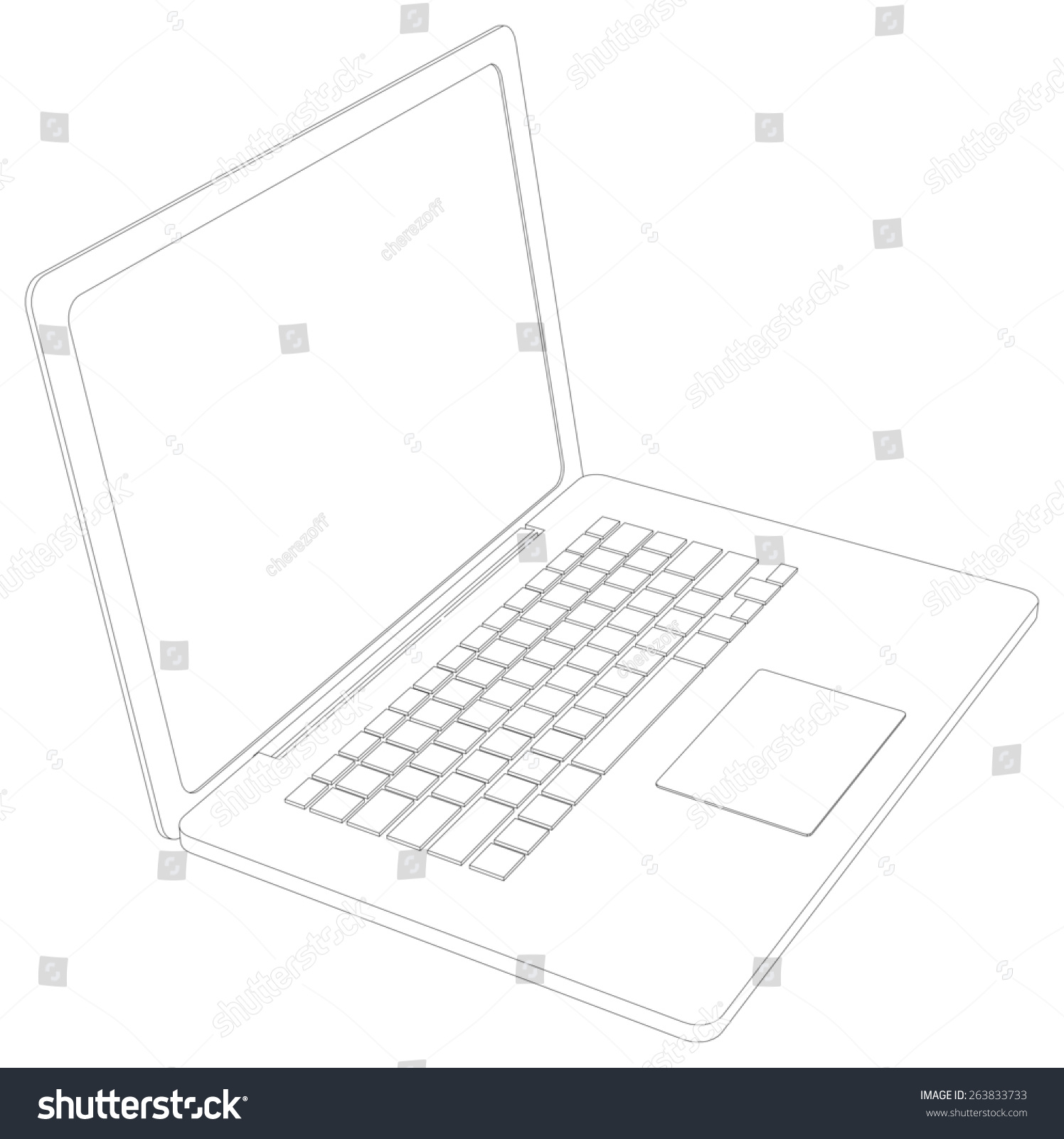 Drawing Wireframe Open Laptop Perspective View Stock Photo (Photo ...