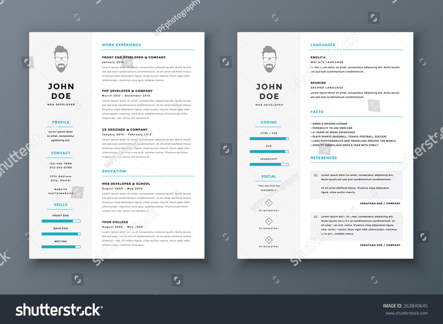 resume cv vector template awesome job stock vector 263840645