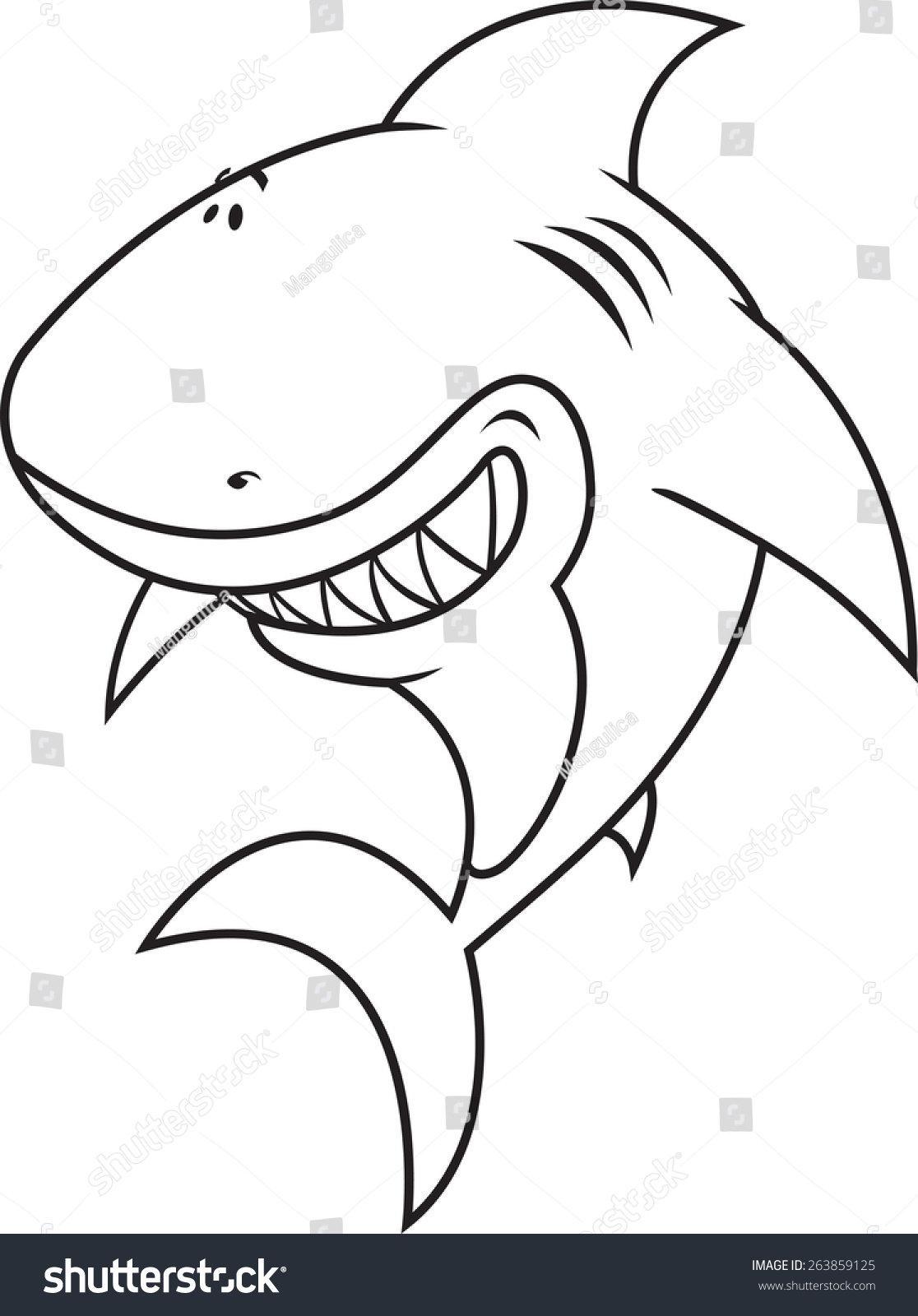 funny looking great white shark coloring book illustration - Shark Coloring Book