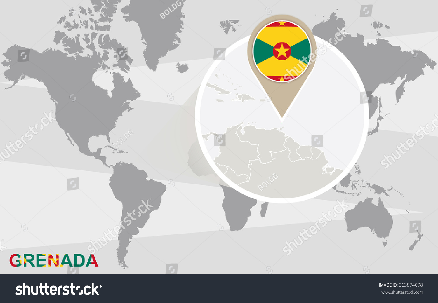 World map magnified grenada grenada flag stock vector 263874098 world map with magnified grenada grenada flag and map sciox Gallery