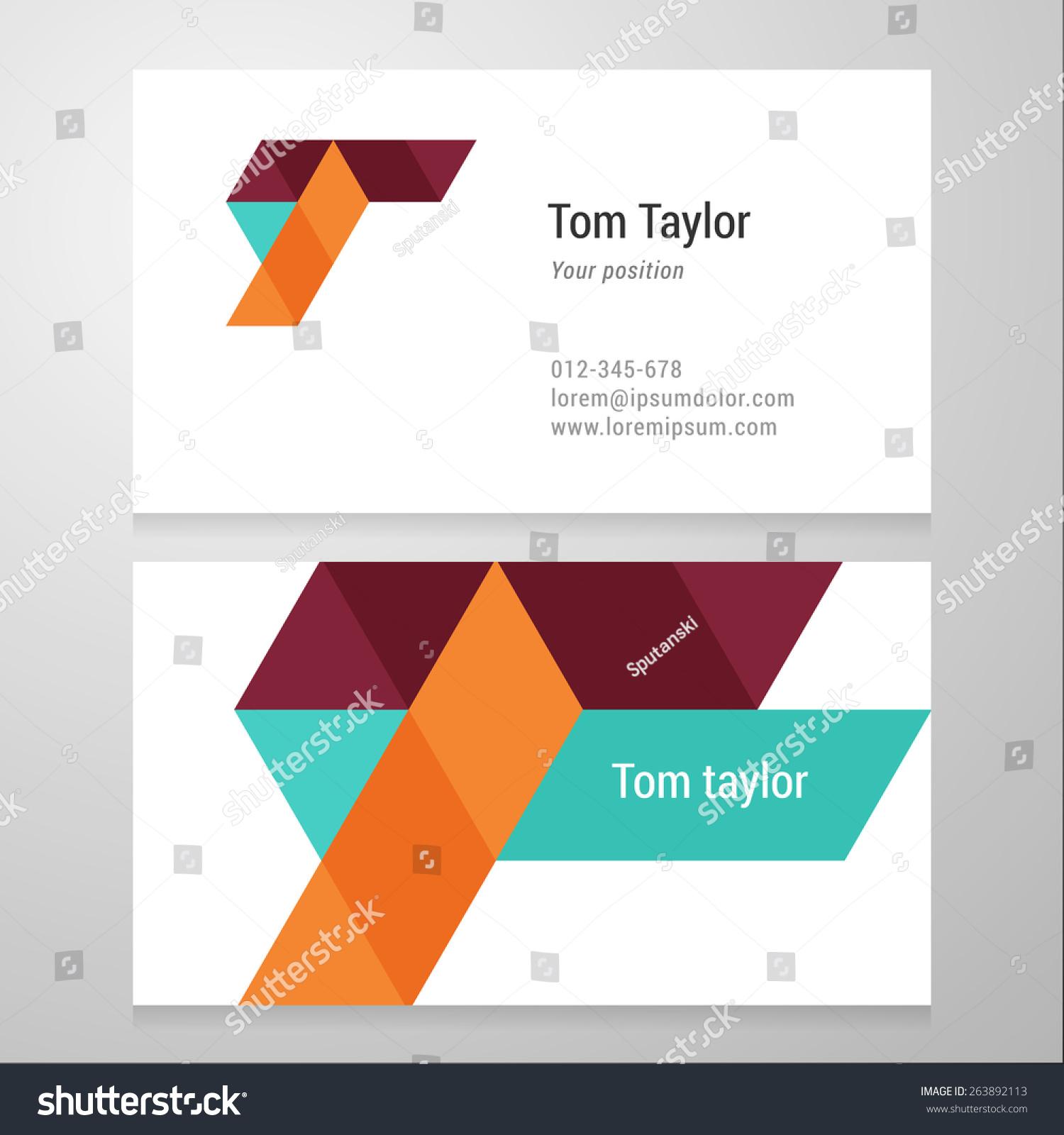 Modern Letter T Business Card Template Stock Vector