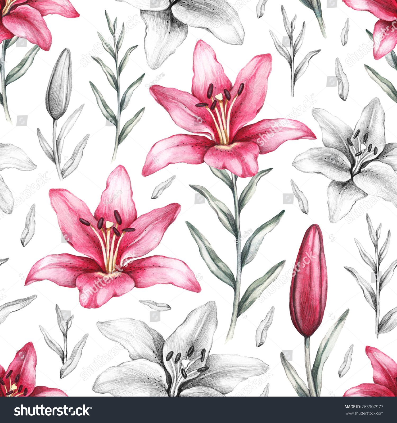 Seamless Pattern With Drawings Of Lily Flowers Ez Canvas