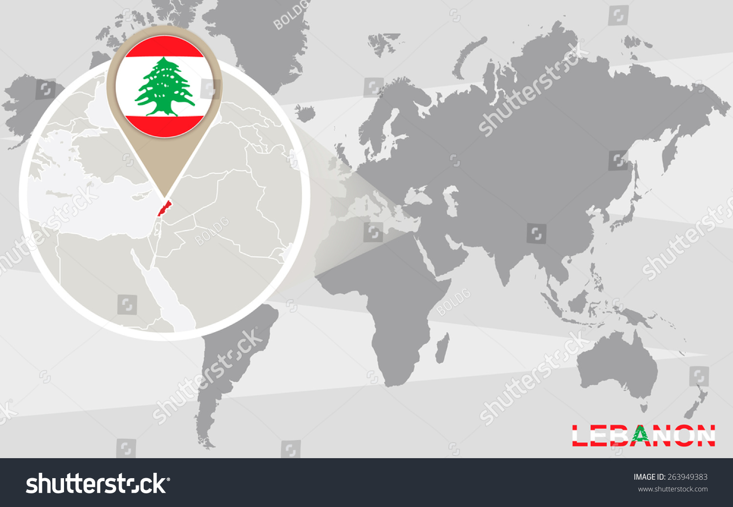 World Map Magnified Lebanon Lebanon Flag Stock Vector (Royalty Free ...