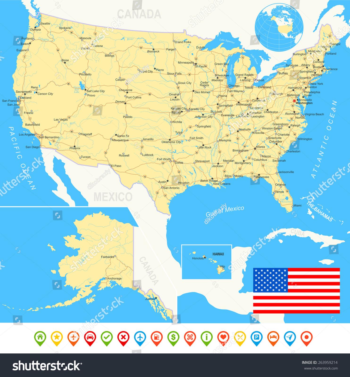 Usa Detailed Physical Map Navigation rain water saving diagram