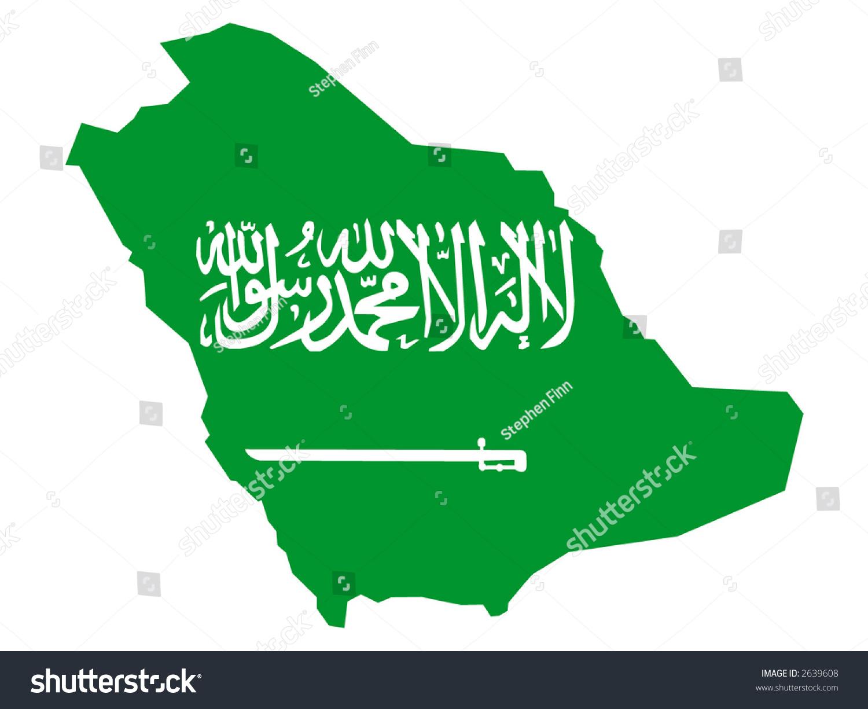 Map Saudi Arabia Saudi Arabian Flag Stock-Vrgrafik (Lizenzfrei ... on