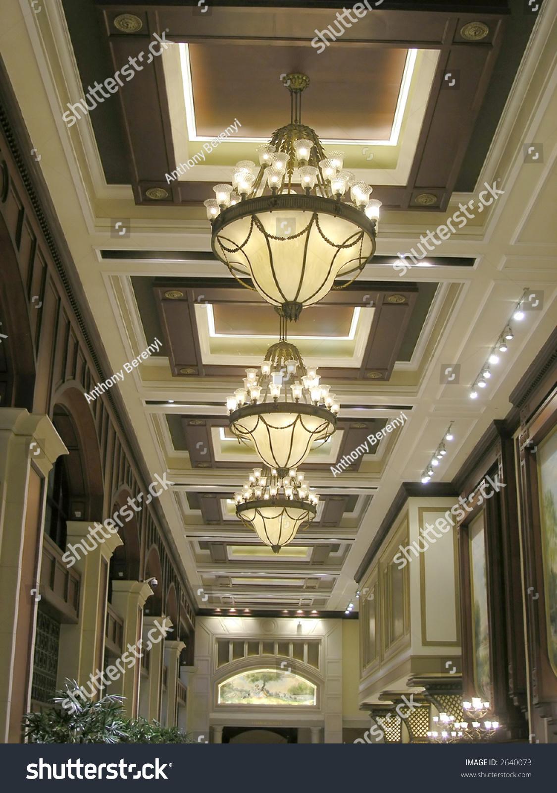 Luxury Hotel Lobby Ornate Lamps San Stock Photo 2640073
