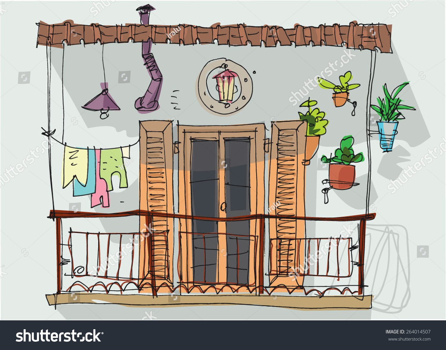 Cartoon balcony related keywords long