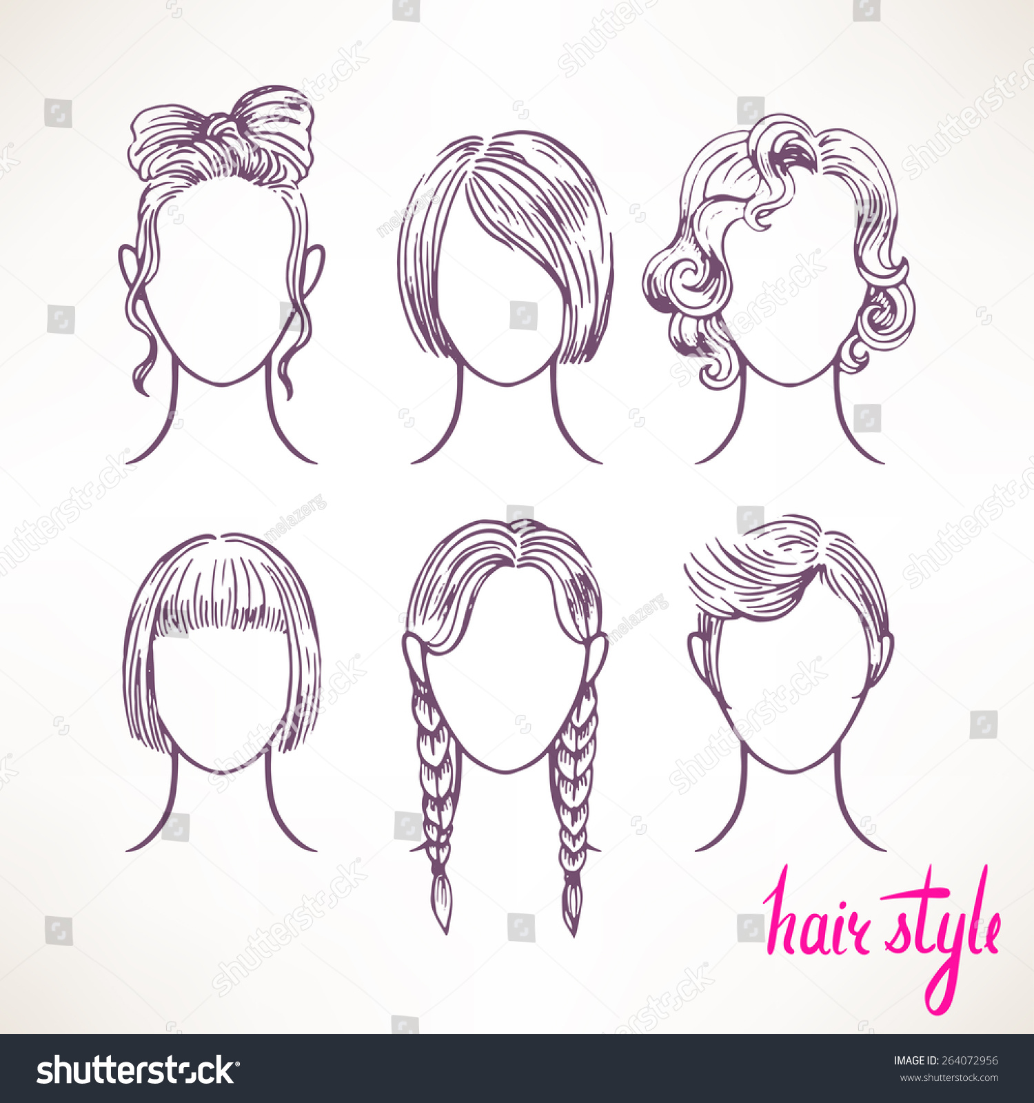 Set Different Hairstyles Handdrawn Illustration Stock Vector - Different hair style drawing